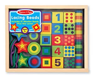 Melissa & Doug Deluxe Wooden 27-Piece Lacing Beads in a Box
