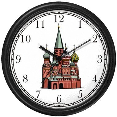 Moscow Kremlin St. Basil Cathedral - Russian - Famous Landmarks - Theme Wall Clock by WatchBuddy Timepieces Hunter Green Frame