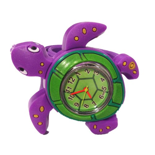 Cute 3D Cartoon Sea Animal Watch Children'S Rubber Snap-On Slap Cuff Watch Gifts Idea (Green Turtle)