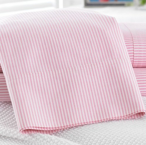 Lauren by Ralph Lauren Bedding University Pink Stripe Oxford Set of 2 Standard Pillowcases