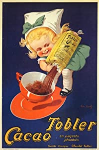 CHOCOLAT CHOCOLATE GIRL CHILD TOBLER CACAO FRENCH LARGE VINTAGE POSTER REPRO