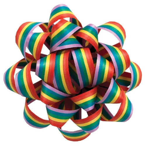 The Gift Wrap Company Eco-Chic Collection 12 Count Bows, Rainbow Stripes