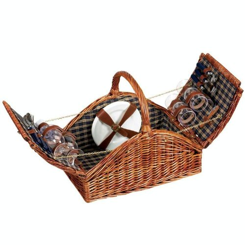 Lowest Price! Household Essentials Woven Willow Picnic Basket, Square Shaped, Fully Lined, Service f...