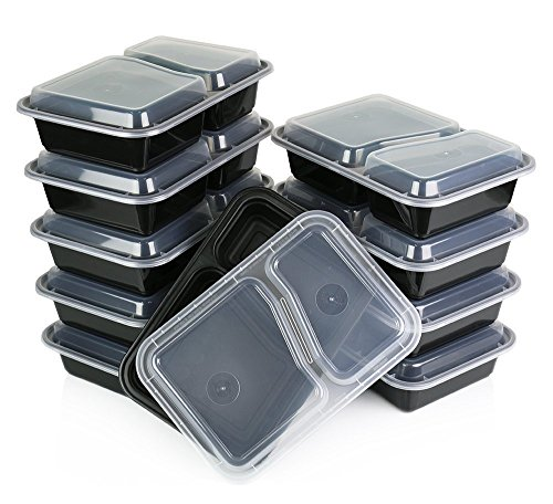 Reusable Microwaveable Food Storage Containers - Pack of 10 Stackable Bento Lunch Boxes with Lids, Freezer and Dishwasher Safe - 2 Compartments - Black - By Homeryware (Square Metal Dog Food Container compare prices)