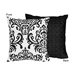 Black and White Isabella Decorative Accent Throw Pillow by Sweet Jojo Designs