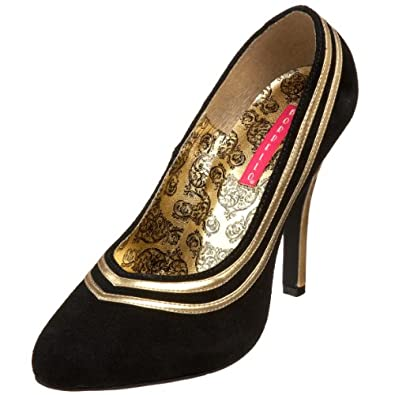 Bordello by Pleaser Women's Tempt-40 Pump,Black Suede/Gold,6 M US