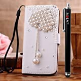M LV HTC One X OneX Leather Diamond Bling crystal Folio Support Smart Case Cover With Card Holder & Magnetic Flip Horizontals - Diamond Loveheart