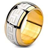 Justeel Men Large Stainless Steel Ring Band Silver Gold Greek Size V(with Gift Bag) (Width: 0.39
