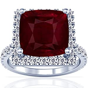 18K White Gold Cushion Cut Ruby Ring With Sidestones