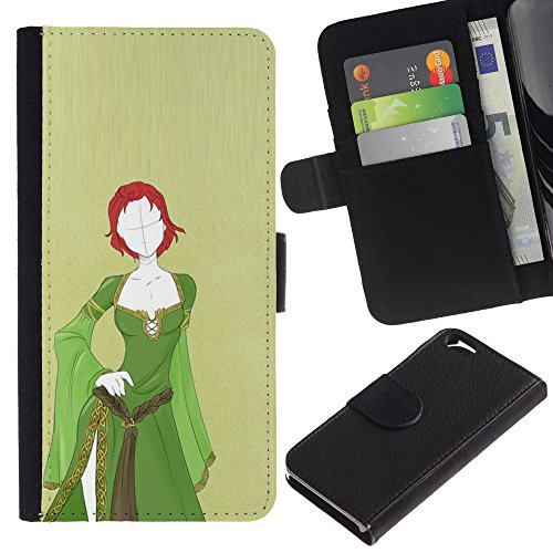 WonderWall (Not For IPHONE 6 PLUS) Wallpaper Fancy Picture Image Wallet Flip Leather Pouch Card Slots Black Hard Case Cover Protection For Apple Iphone 6 4.7 - green medieval dress redhead girl (Spooky Fancy Dress)