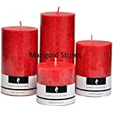 "Decorative Aromatic Rose Scented Candles Pillar Candles Size 4.5""X2"", 3.5""X2"" , 3""X 2"" And 2""X2"". - Set Of 4 -..."