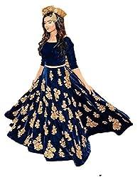 Sanjana Collection Women's Net Lehenga (Blue_Free Size)
