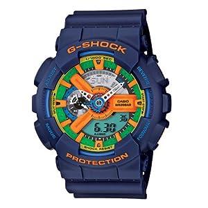 Casio Men's GA-110FC-2A Blue Resin Quartz Watch with Green Dial
