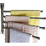 KES SUS 304 Stainless Steel Swing Out Towel Bar 4-Bar Folding Arm Swivel Hanger Bathroom Storage Organizer Space Saving Wall Mount, Brushed Finish, A2102C-2