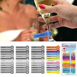 WINE LINES Glass Tags - Comments Set of 12
