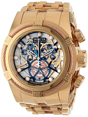 Invicta Men's 13757 Bolt Reserve Chronograph Gold Tone and Beige Dial 18k Gold Ion-Plated Stainless Steel Watch