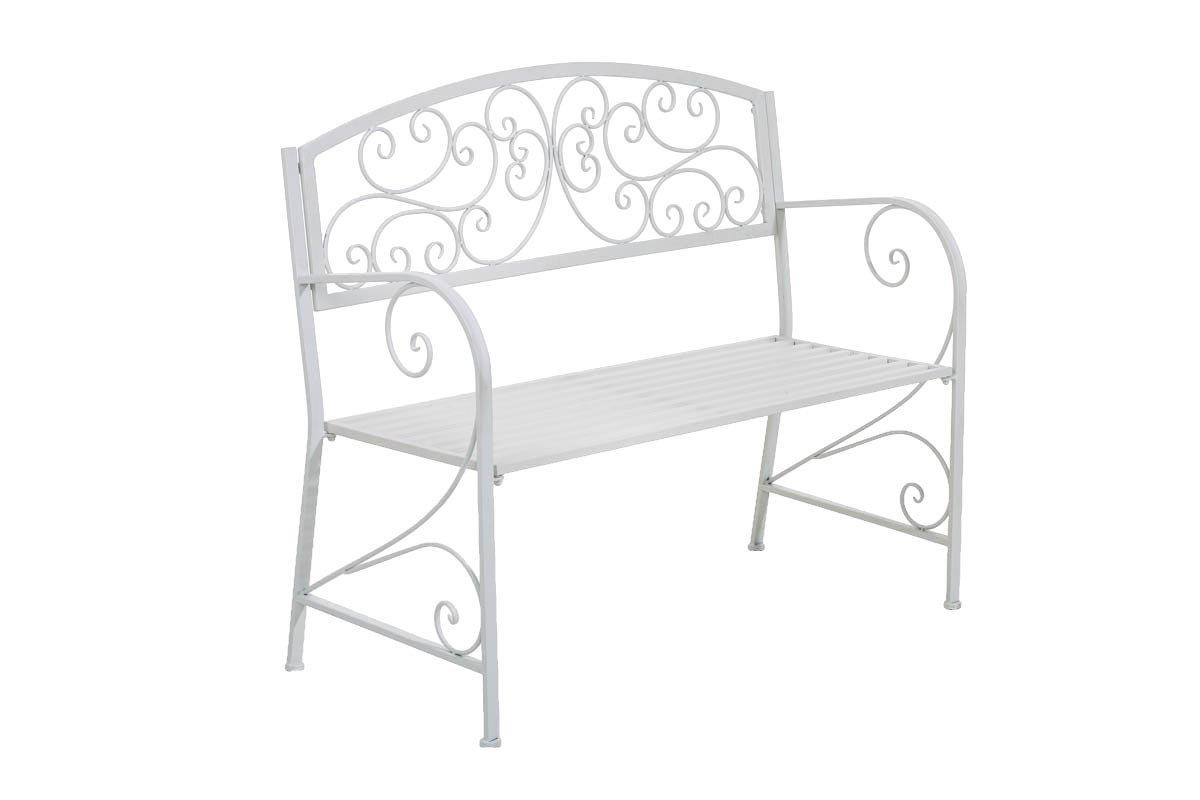CLP Gartenbank AZAD im Landhausstil, aus lackiertem Eisen, 108 x 51 cm – aus bis zu 6 Farben wählen weiß günstig bestellen