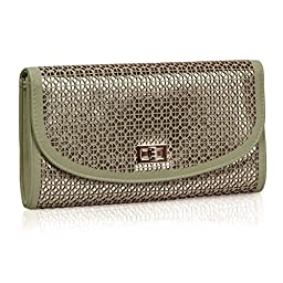 BMC Perforated Quartered Circle Cut Out Design Forest Green Faux Leather Shiny Gold Base Color Fashion Envelope Clutch