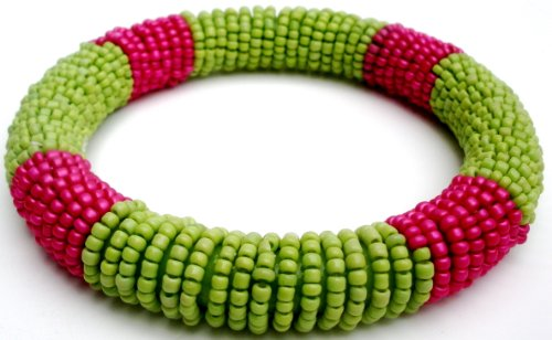 Green & Pink Tone Beaded Bangle Fashion Bracelet