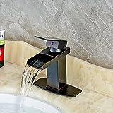 Senlesen Oil Rubbed Bronze Waterfall Spout Bathroom Sink Vessel Vanity faucets Lavatory Mixer Tap Single Handle