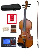 Cecilio CVA-500 Solidwood Ebony Fitted Viola with D'Addario Prelude Strings, Size 14-Inch