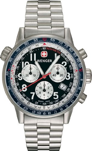 Wenger Men's 70877 Commando SR Chrono Black Dial Steel Bracelet Watch
