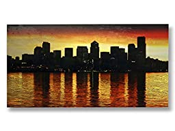 Neron Art - Hand painted Cityscape Oil Painting on Rolled Canvas for Living Room Wall Decor - Twilight 48X24 inch