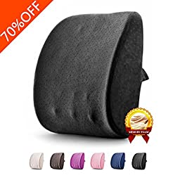 Lumbar Back Support Pillow 3D Memory Foam Breathable Massage Granules Pillow Cushion for Car Office Chair and Travel Pillow for Back Pain and Sciatica (Supremacy Black)