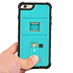 Newly High Quality ZVE® Multifunctional Cigarette Lighter Cover for iPhone 6 Plus 5.5 Built-in Cigarette Lighter/Bottle Opener/Camera Stable Tripod/Shockproof Case (Blue-iPhone 6 plus 5.5)