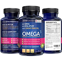 OMEGA 3 Premium Extra-Strength Fish Oil Pills, 650mg DHA Supplements, 120 count