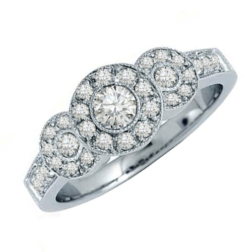 0.65 Carat (ctw) 14k White Gold Brilliant Round Diamond Ladies 3 stone Bridal Engagement Ring