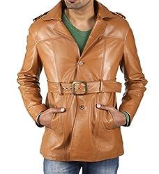 Shagoon Emporium Men's Leather Coat(sh0053_Brown_Large)