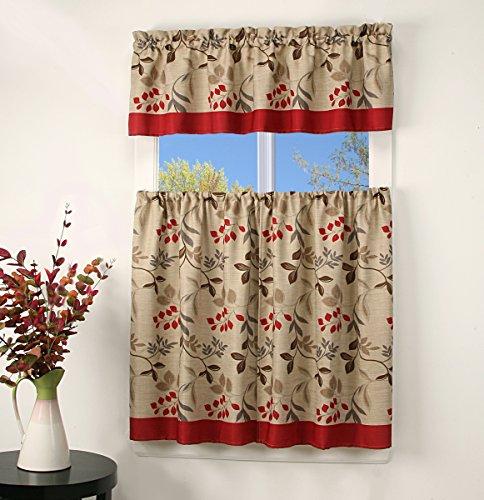 3 Piece Leaves Tier & Valance Kitchen Window Curtain