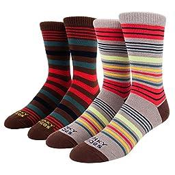 Funky Socks Men\'s 2 Pack Multistripe Crew Socks Khaki