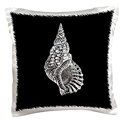 3dRose pc_164980_1 Black Conical Seashell Print White Beach Sea Shell Spiral Illustration Pillow Case, 16 x 16