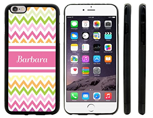 """Rikki Knighttm """"Barbara"""" Pink Chevron Name Design Iphone 6 Plus Case Cover (Black Rubber With Front Bumper Protection) For Apple Iphone 6 Plus front-629423"""