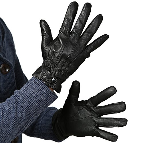 Men's Black Genuine Leather Soft Velvet Winter Warm Gloves Driving Gloves