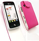 EMARTBUY LG GS290 COOKIE FRESH PREMIUM PU LEATHER FLIP CASE/COVER/POUCH HOT PINK AND LCD SCREEN PROTECTOR
