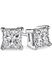 PARIKHS Princess cut Diamond stud Promo Quality in White Gold & Yellow Gold, 0.04 ct - 2.00 ct, I3 clarity (IGI Certified from 0.70 ct & above)