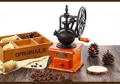 YOOYOO Retro Style Burr Coffee Grinder Hand Grinding Machine Hand-crank Roller (TAN) 4