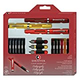 Sheaffer Calligraphy Maxi Kit, 3 Viewpoint Fountain Pens with 3 Nib Grades, Assortment of Ink Cartridges, Tracing Pad (73404)