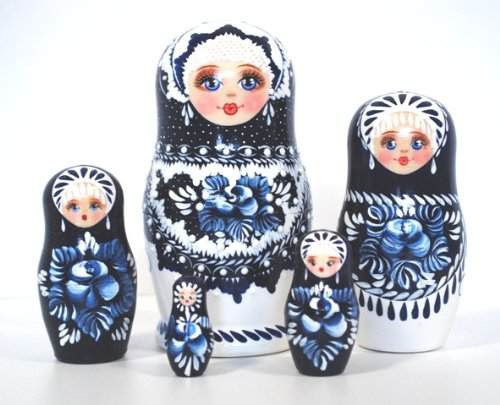 Beautiful Nesting Doll 5 Nested Hand Carved Hand Painted 4 3//4 Inch tall