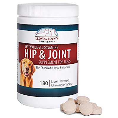Best Value Glucosamine for Dogs Hip and Joint Supplement with Chondroitin MSM and Vitamin C! Compare Labels to See Greatest Value Comes from Lloyd and Lucy! Chewable Tablets with the Best Ingredients for Your Best Friend!