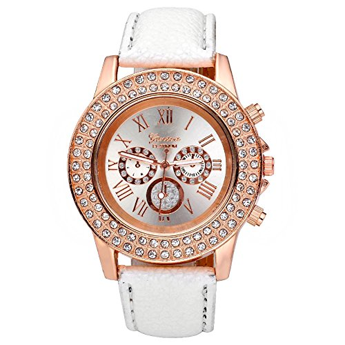 Ukamshop(TM)Women Ladies Crystal Dial Quartz Analog Leather Bracelet Wrist Watch White