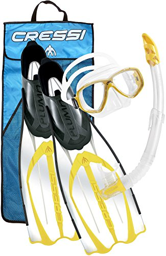 Cressi Pluma Bag Set da Snorkeling, Maschera, Pinne e Boccaglio, Giallo, 45/46