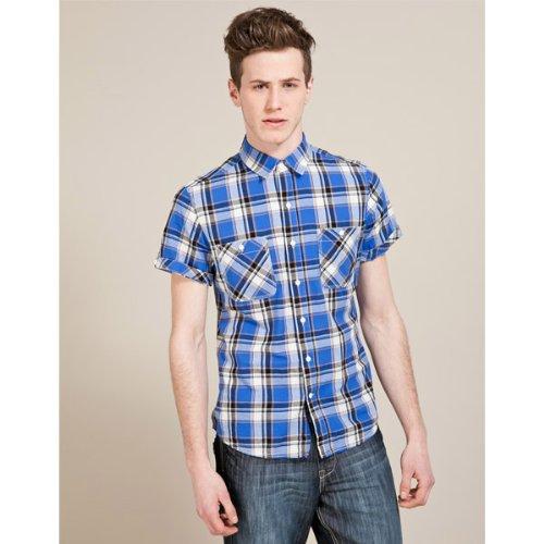 Soul Cal Deluxe Salton Checked Shirt - Blue - Mens
