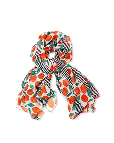 Printed Village Women's Citrus and Stripes Scarf, Orange, White
