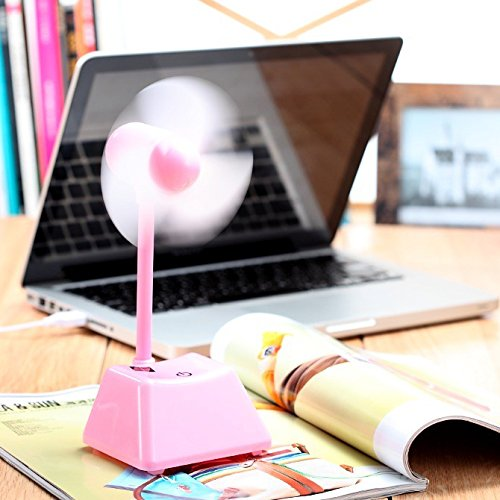 Greenwon Rechargeable Mini Usb Fan For Office Super Quiet Plastic Desk Usb Power Mini Fan,Better For Travel Gifts (Pink)