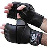 MMA Gel Leather Fight Gloves, Medium