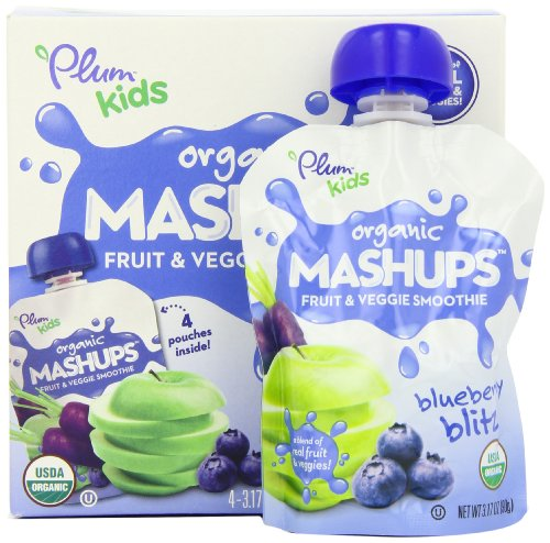 Plum Kids Organic Fruit and Veggie Mashups Blueberry Blitz 4 Count Pack of 6
